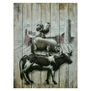 Nástěnný kovový obraz s farmářskými zvířaty - 60*80*5 cm Clayre & Eef
