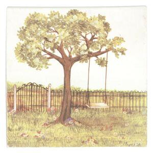 Obraz strom s houpačkou - 25*25*3 cm Clayre & Eef