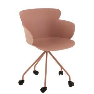 Plastová růžová židle na kolečkách Eva - 56*53*81 cm
