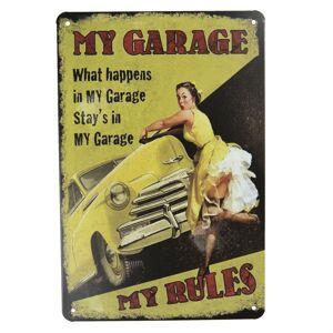 Plechová dekorační deska My garage  - 20*30 cm