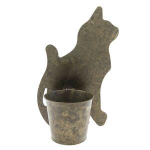 Plechový květináč s dekorací kočky - 22*13*36 cm