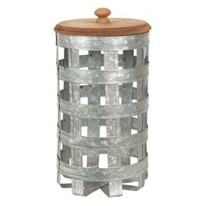 Plechový úložný box s dřevěným víkem - Ø 14*26 cm Clayre & Eef