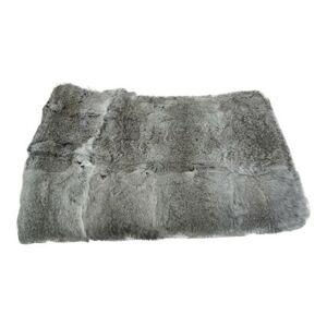 Pléd / přehoz z králičí kůže Rabbi šedá - 130*180*3cm