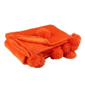 Plyšový pléd s bambulkami v zářivě oranžové Pompom - 130*170*1 cm