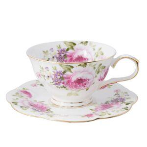 Porcelánový šálek s podšálkem s růžemi Rose - Ø 15*7 cm / 0.15 L Clayre & Eef