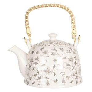 Porcelánová konvice na čaj s drobnými kvítky - 18*14*12 cm / 0,8L Clayre & Eef