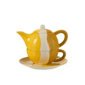 Porcelánová konvička na čaj se šálkem Wave v odstínech žluté - 20*18,5*16 cm