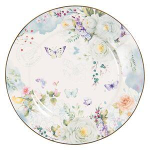 Porcelánový dezertní talíř Butterfly - Ø 19*2 cm Clayre & Eef