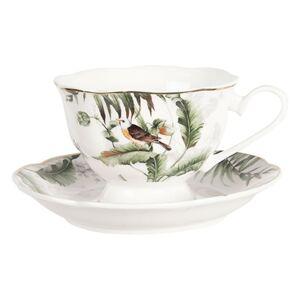 Porcelánový šálek s podšálkem Tropical birds - Ø 15*7 cm / 0,22L Clayre & Eef