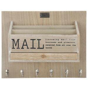 Přírodní box na poštu na zeď s nápisem Mail -  38*30*11 cm