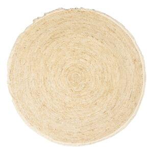 Přírodní kulatý koberec z mořské trávy s třásněmi - Ø 120 cm