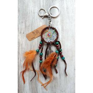 Přívěsek na klíče lapač Boho s peříčky - Ø 4cm* 20cm Clayre & Eef