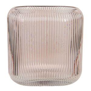 Růžová skleněná oválná váza Daffy - 19*7*16 cm