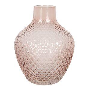 Růžová skleněná váza s úzkým hrdlem Rosamina – Ø 21*25 cm