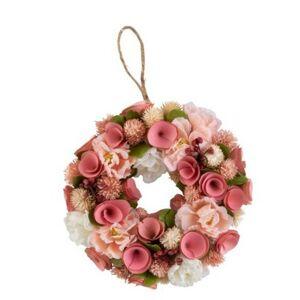 Růžový jarní věnec s květinami - Ø 23*6 cm  J-Line