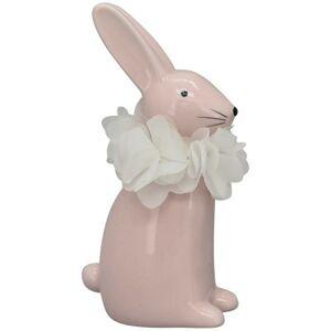Růžový keramický králíček - 7*4*13 cm Clayre & Eef