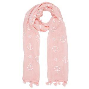 Růžový šátek Anchors s kotvami - 70*180 cm Juleeze