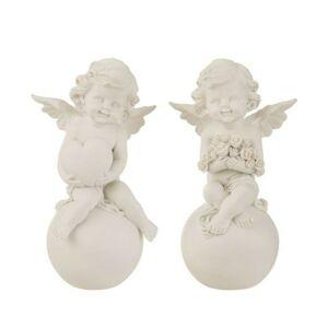 Sada 2ks bílých andělů na kouli s růžemi a se srdcem -12,5*10*21cm