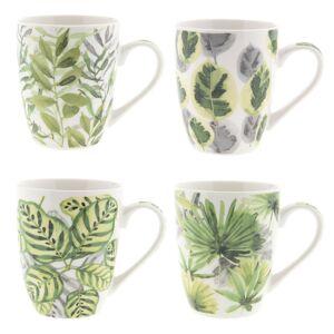 Sada 4 ks porcelánových hrnečků se zelenými listy (set4) - Ø 9*10 cm / 0,3L Clayre & Eef