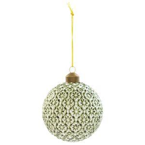 Sada 4 skleněných vánočních zelených baněk - Ø 8*8 cm Clayre & Eef