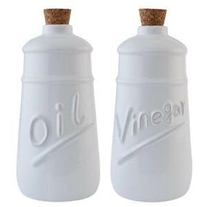 Sada bílá láhev na olej a ocet -  Ø 9*19 cm / 2x 0,6 L Clayre & Eef