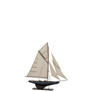 SAILBOAT WOOD BROWN/BLUE SMALL - 60*10*70 cm J-Line