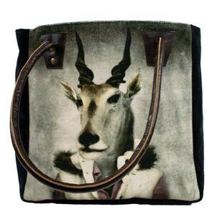 Sametová kabelka s koženými uchy mr. Antilopa - 32*30*19cm