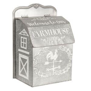 Šedá plechová poštovní schránka Farmhouse - 26*16*37 cm Clayre & Eef