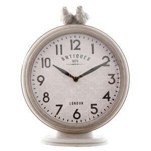 Šedé kovové stolní hodiny s ptáčky - 20*7*26 cm Clayre & Eef