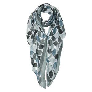 Šedivo bílý šátek s modrými a šedými znaky - 90 * 180 cm