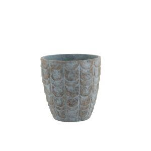 Šedo modrý keramický květináč - Ø  32*32,5 cm