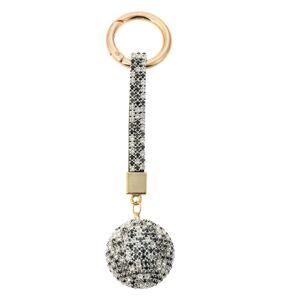 Šedo - zlatá klíčenka koule s kamínky Venni - Ø 3,5*14,5cm