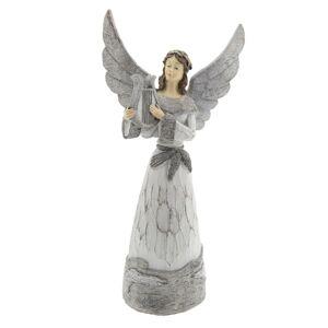 Šedý anděl s harfou - 18*11*36 cm