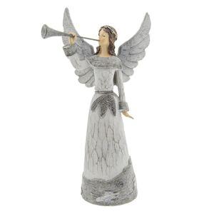 Šedý anděl s trubkou - 19*13*36 cm