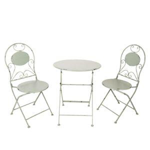Šedý kovový stůl + 2x židle - Ø 60*70 / 2x Ø 40*40*92 cm Clayre & Eef