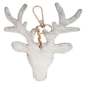 Šedý kožený přívěsek na klíče v designu jelena - 11*10*2,5cm
