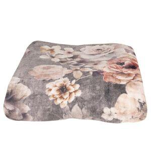 Šedý plyšový pléd /přehoz s květy Vintage - 130*170 cm Clayre & Eef