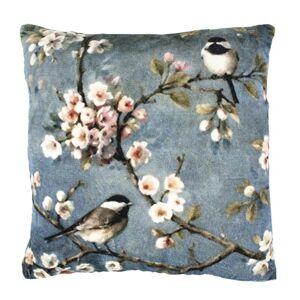 Šedý sametový polštář Ptáčci s květy - 45*45*10cm