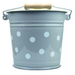 Šedý smaltovaný kyblík s puntíky Grey dot - Ø24*23cm - 6L