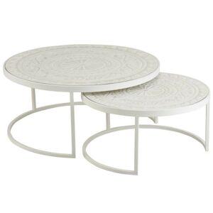 Set 2 bílých kovových stolků s dřevěnou deskou - Ø79*36 cm J-Line