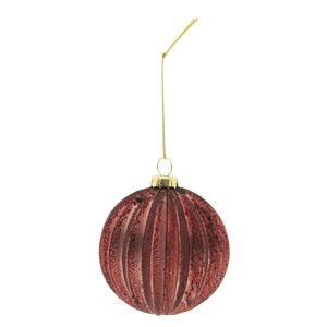 Set 4 tmavě červených vánočních ozdob - Ø 8 cm