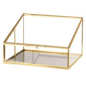 Skleněná šperkovnice se zlatým kovovým lemováním - 20*17*13 cm Clayre & Eef