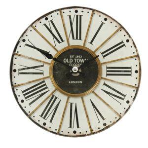 Skleněné stolní hodiny Old Town -  Ø 17*4 cm / 1xAA Clayre & Eef