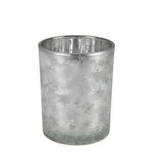 Skleněný svícen na čajovou svíčku s motivem sněhových vloček – Ø 8*10cm