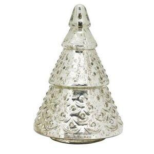 Sříbrný skleněný svítící stromek- Ø 13*20cm Exner