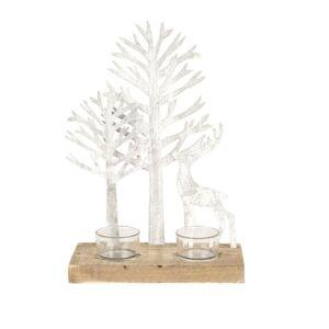 Stojan na čajové svíčky s jelenem a stromy - 20*10*29 cm Clayre & Eef