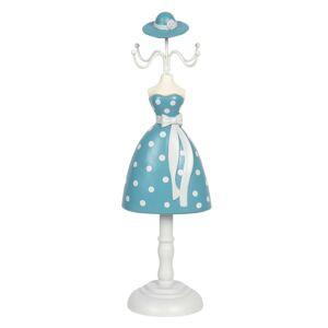 Stojánek na šperky dáma v modrých puntíkatých šatech - 10*8*33 cm