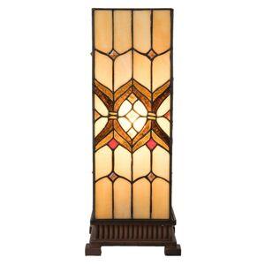 Stolní čtvercová lampa Tiffany  Quadre - 17*17*44 cm Clayre & Eef