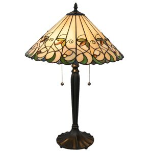 Stolní lampa Tiffany Happy green - Ø 43*62 cm / E27 / Max. 2x60  Clayre & Eef