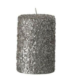 Stříbrná svíčka válec v celofánu - Ø 7*10 cm/28h